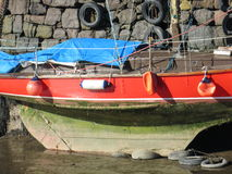 Colourful boat in dry dock Royalty Free Stock Photo