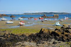 Colourful boats in the bay Guernsey, Channel Islands Stock Photos