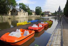 Colourful boats in Metz Royalty Free Stock Photos