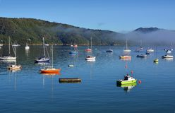 Colourful Boats in Waikawa Bay, New Zealand on summer morning stock photography