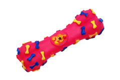 Colourful bone toy for dog. Isolated on a white background royalty free stock photography