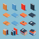 Colourful book set. Vector isometric set of books. Collection of differently colored and designed books - standing book, books on the side, books with decorated Stock Images