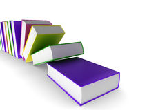 Colourful books. 3d illustration of coloured (colored) books falling over Stock Image