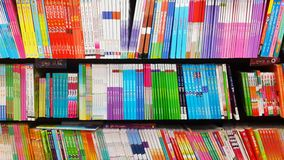 Colourful books. Beautiful colour in book shop stock image