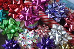 Colourful bows, toppers and wrappers Stock Images
