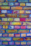 Colourful brick wall stock photo