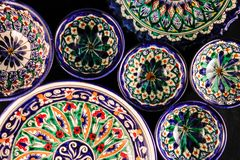 Colourful bright East style plates ornament stock photos