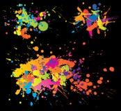 Colourful bright ink splashes. On black background vector illustration
