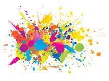 Colourful bright ink splashes