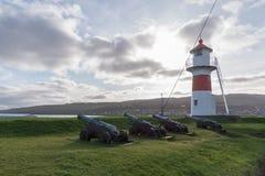 Lighthouse on Skansin, Torshavn, Faroe Islands, Denmark. Colourful and bright lighthouse on the fort Skansin that protected Torshavn on Streymoy island, Faroe Royalty Free Stock Image