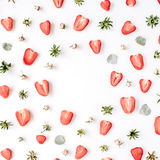 Colourful bright pattern made of strawberries Stock Image