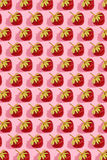 Colourful bright pattern with ripe strawberry. Top view. Pink background Stock Photo