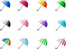 Colourful and bright vektor umbrellas stock illustration