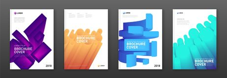 Colourful brochure covers set. Modern abstarct geometric colourful brochure covers set. Futuristic gradient 3d-shapes concept Royalty Free Stock Photo