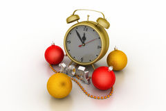 Colourful bubble with alarm clock. Christmas: colourful bubble with alarm clock vector illustration