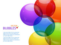 Colourful bubble background landscape and text Stock Photos