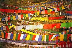 Colourful Buddhist Prayer Flags Royalty Free Stock Photography