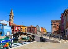 Colourful budynki na Burano obraz stock