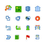 Colourful building icons. On white background Royalty Free Stock Photography