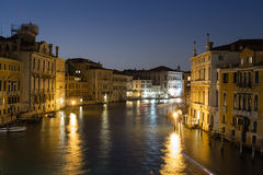 Colourful buildings along the Grand Canal at night Royalty Free Stock Images