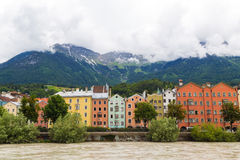 Colourful Buildings along the River Inn in Innsbruck Stock Photography
