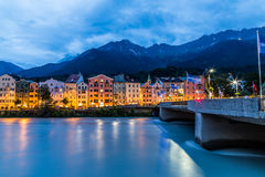 Colourful Buildings along the River Inn in Innsbruck Royalty Free Stock Photo