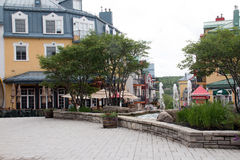 Colourful buildings and fountains  of Mont Tremblant. The deserted ski lift at Mont Tremblant in the summer Royalty Free Stock Photography