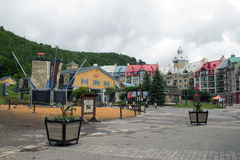 Colourful buildings of Mont Tremblant 2. The deserted ski lift at Mont Tremblant in the summer Stock Photo