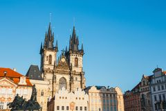 Colourful buildings in Old Town square in Prague in a beautiful autumn day stock photography