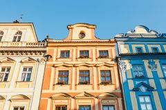 Colourful buildings in Old Town square in Prague in a beautiful autumn day stock photo