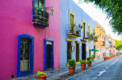 Colourful buildings, Puebla, Mexico. 17th May. Details of old colonial houses and the streets of Puebla city Stock Image
