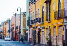 Colourful buildings, Puebla, Mexico. 17th May Stock Photos