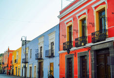 Colourful buildings, Puebla, Mexico. 17th May Royalty Free Stock Image