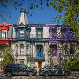 Colourful buildings at Square Saint-Louis in Montreal Stock Photo
