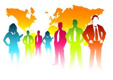 Colourful Business Concept. A colourful business team with the world behind them Stock Images