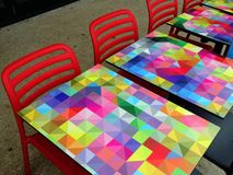 Colourful Cafe Tables Stock Images