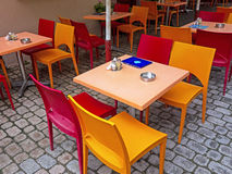 Colourful Cafe Tables Stock Image