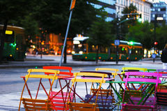 Colourful cafeteria chairs Stock Photography