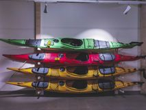 Colourful canoe under the artificial light stock photos