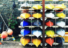 Colourful Canoes. Stock Photo