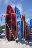 Colourful canoes. In the summer Royalty Free Stock Image