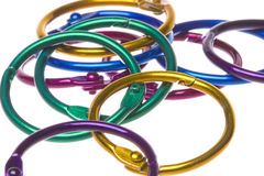 Colourful Card Rings Macro Isolated Stock Image