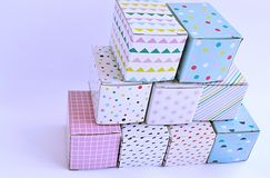 Colourful cardboard boxes on white background Royalty Free Stock Photo