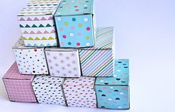 Colourful cardboard boxes on white background Stock Images