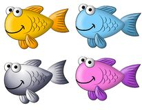 Colourful Cartoon Fish Clip Art. A cartoonish clip art illustration featuring your choice of 4 colourful clip art fish isolated on white Royalty Free Stock Photography