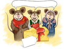 Colourful Cartoon Mice Illustration - Hand Drawn. A hand-drawn illustration featuring a family of cartoon mice receiving a gift of cheese. Includes a vacant Stock Photos