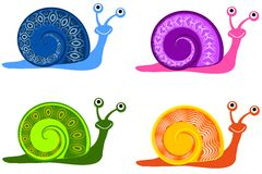 Colourful Cartoon Snails. An illustration featuring your choice of 4 colourful cartoon snails in blue, purple, green and orange Stock Image