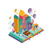 Colourful Castle. Isometric Illustration Stock Photography