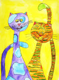 Colourful cats. A colourful children's drawing of two cats Stock Photo