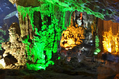 Colourful cave - Halong Bay, Vietnam Royalty Free Stock Photography